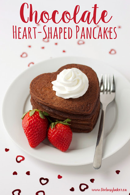 titled image (and shown): chocolate heart shaped pancakes