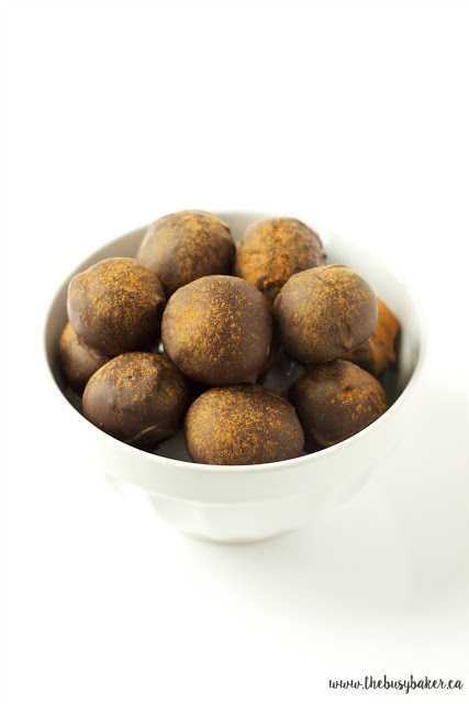 a bowl of chocolate spice fig truffles