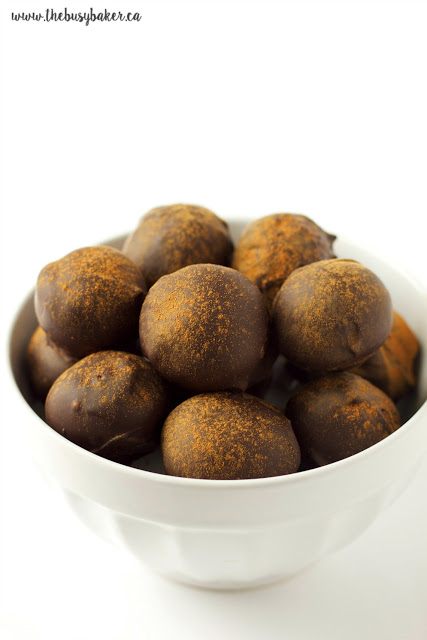 fig and chocolate truffles dusted with cinnamon