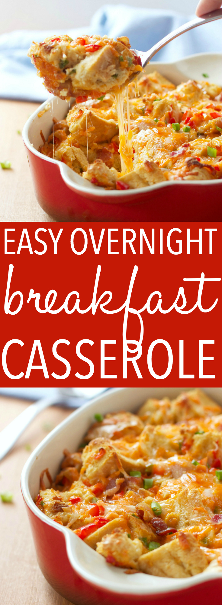 This Easy Make-Ahead Breakfast Casserole is a delicious, lighter twist on an old family favourite, A make-ahead breakfast casserole with bacon, eggs, and cheese! Recipe from thebusybaker.ca! #breakfast #casserole #easy #recipe #morning #christmas #thanksgiving #holiday #cheesy #healthy #overnight #makeahead via @busybakerblog