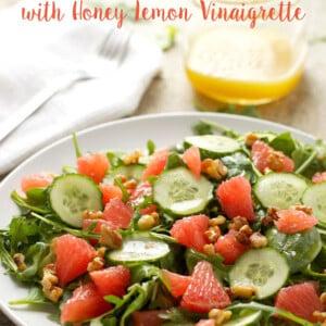 titled image (and shown): grapefruit and arugula salad with honey-lemon vinaigrette
