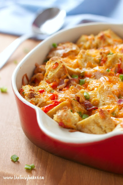 A make-ahead breakfast casserole with bacon, eggs, and cheese