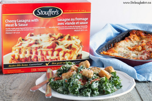 Stouffer's lasagna with meat and sauce and a Caesar side salad with homemade croutons