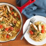 creamy pasta primavera with chicken