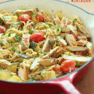 skillet of pasta primavera with chicken