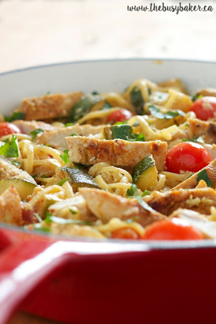 skillet of ricotta pasta primavera with chicken