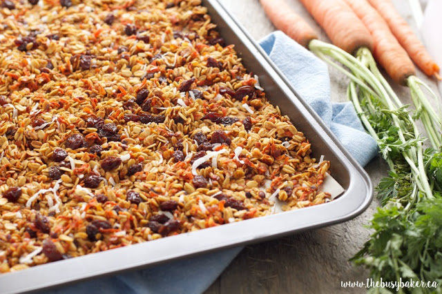 sheet pan of granola made with red lentils, carrots and shredded coconut
