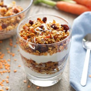 red lentil carrot cake granola parfait