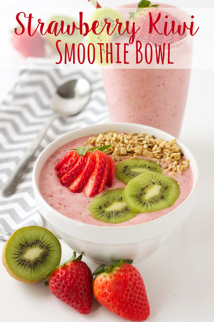 titled image (and shown): Strawberry Kiwi Smoothie Bowl