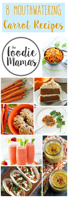 titled photo collage (and shown): 8 mouthwatering carrot recipes