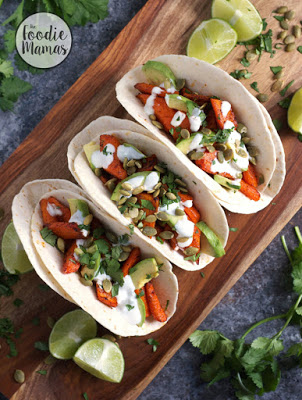 http://turniptheoven.com/chili-roasted-carrot-and-avocado-tacos/