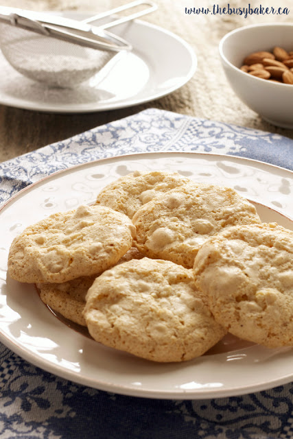 Amaretti cookies on a white plate