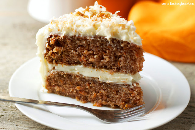 dessert plate holding a slice of homemade carrot cake