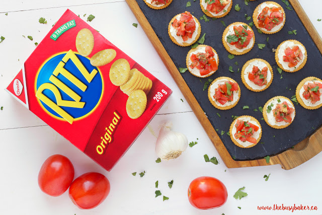 bruschetta appetizers made with Ritz crackers