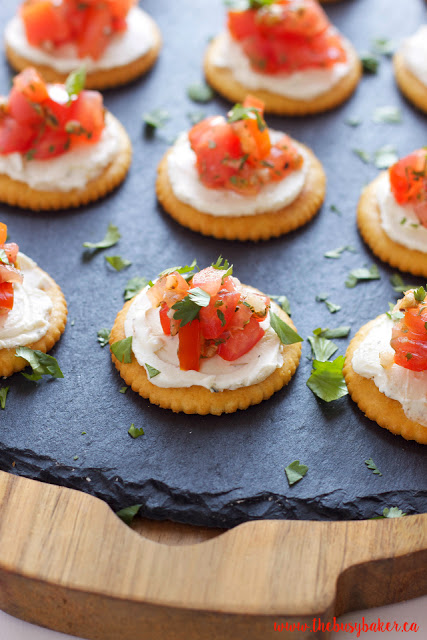 serving tray of bruschetta appetizer bites