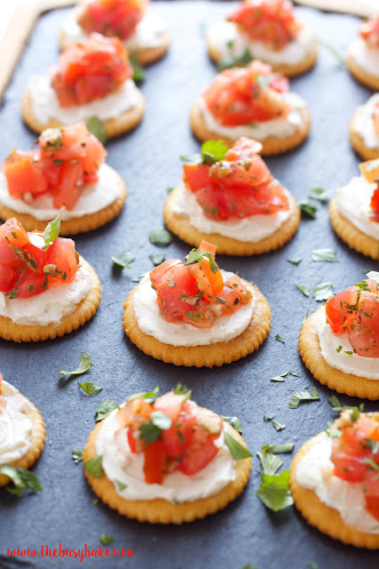 party tray with creamy bruschetta appetizer bites