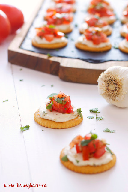 bite-sized appetizers made from creamy bruschetta