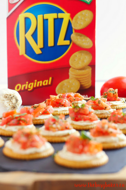 box of Ritz crackers surrounded by bite sized appetizers