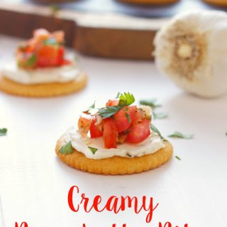 titled image (and shown): Creamy Bruschetta Appetizer Bites