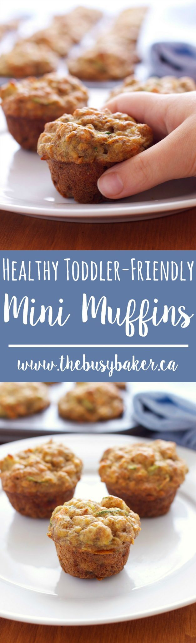 These Healthy Toddler Friendly Mini Muffins are refined-sugar free and packed with fruit and vegetables! Recipe from thebusybaker.ca! #muffins #breakfast #brunch #snack #healthy #toddler via @busybakerblog