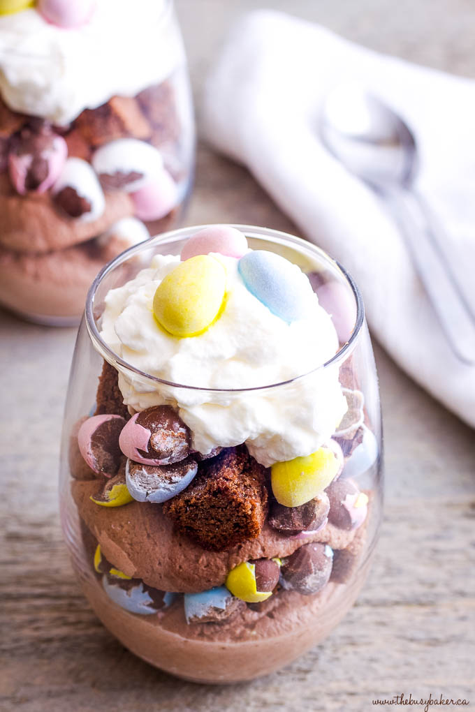brownies and cream with mini eggs for Easter