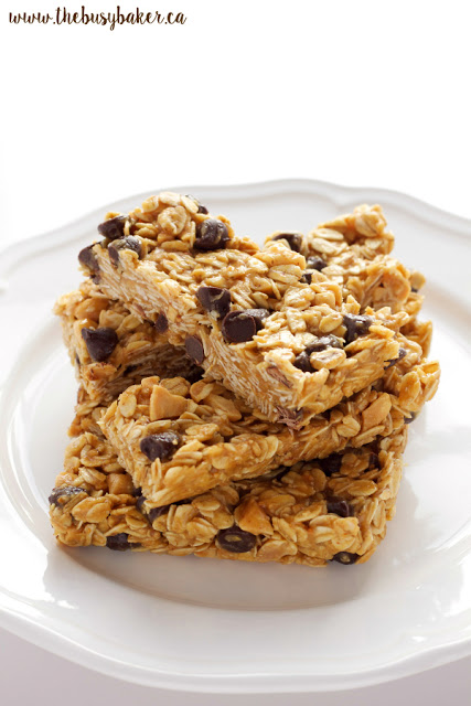 plate of peanut butter granola bars with chocolate chips