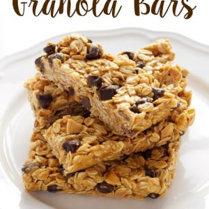 titled image (and shown): Peanut Butter Chocolate Chip Granola Bars