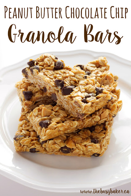 Peanut Butter Chocolate Chip Granola Bars - The Busy Baker