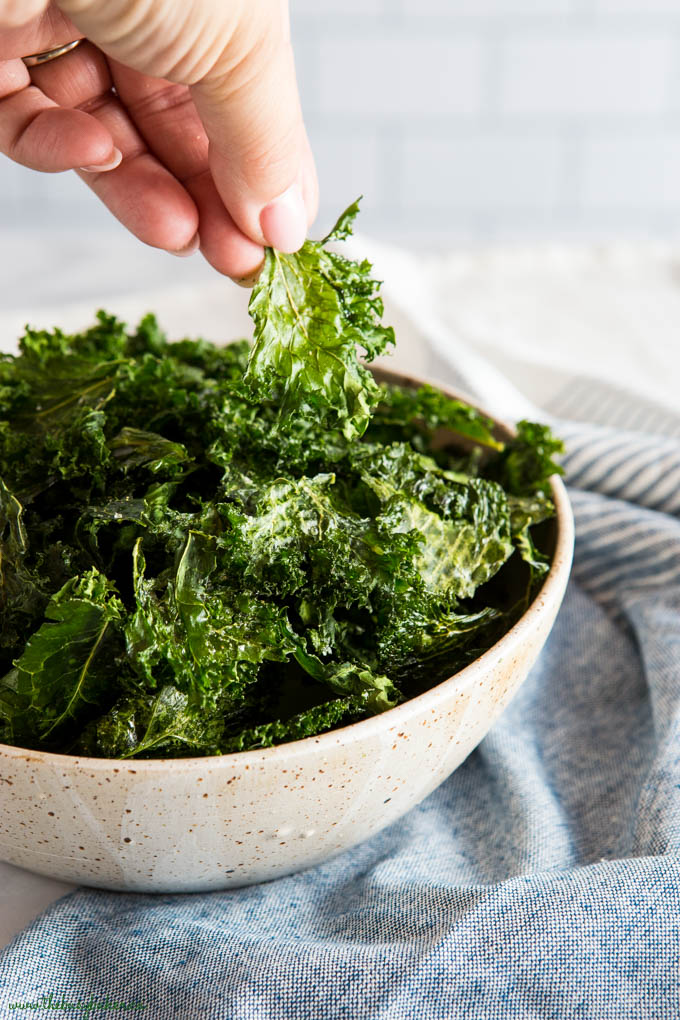 hand reaching for Kale Chips