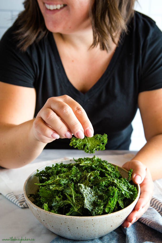 girl enjoying Kale Chips