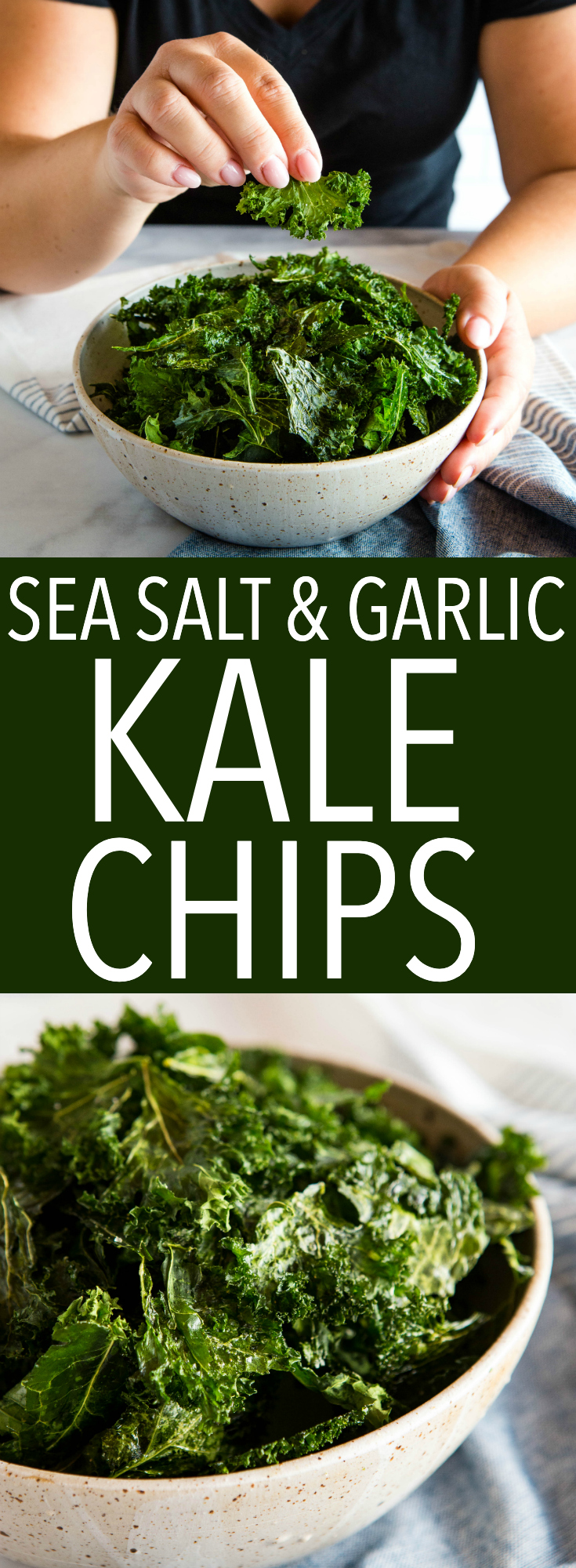 No fail, crispy kale chips every time! Sea Salt and Garlic Kale Chips recipe from thebusybaker.ca via @busybakerblog