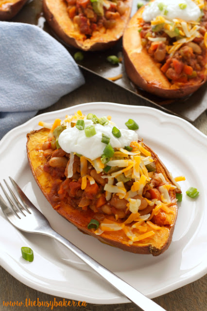 sweet potatoes stuffed with vegan chili made in a slow cooker