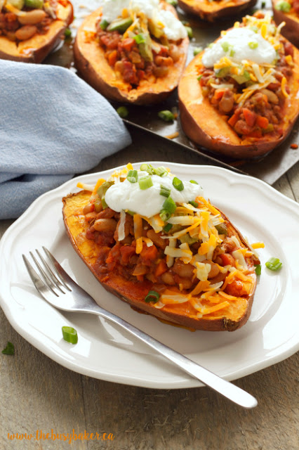 a sweet potato stuffed with meatless chili