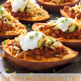 Slow Cooker White Bean and Lentil Chili Stuffed Sweet Potatoes