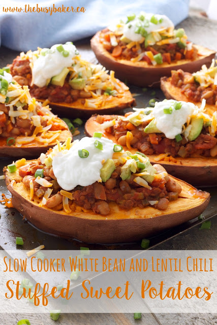 titled image (and shown): Slow Cooker White Bean and Lentil Chili Stuffed Sweet Potatoes