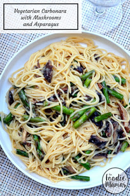 vegetarian carbornara with mushrooms and asparagus