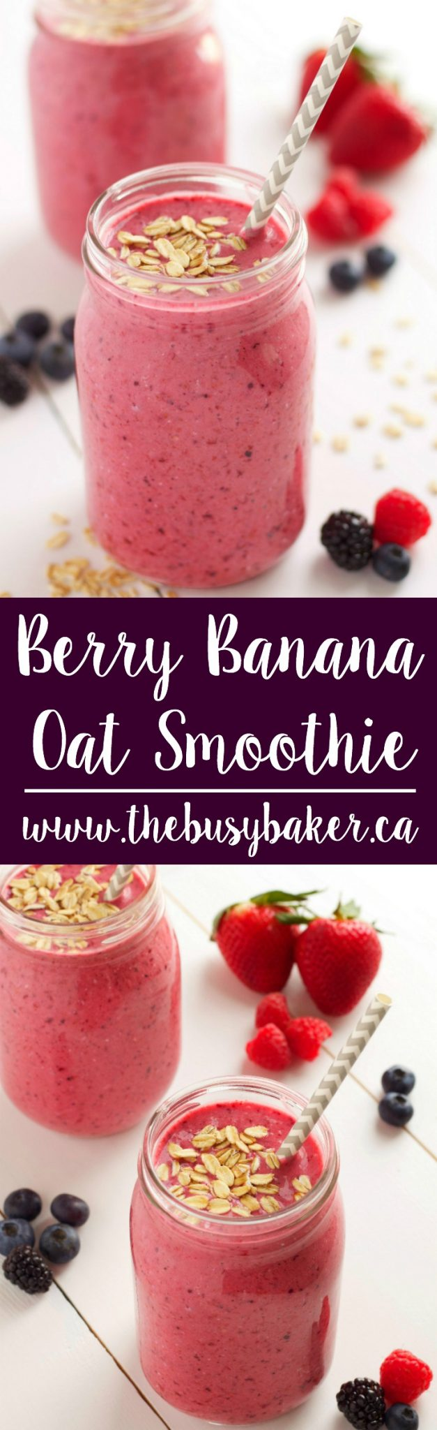 This Berry Banana Oat Smoothie is the perfect dairy-free breakfast full of delicious fruit and a healthy dose of whole grains! Recipe from thebusybaker.ca! #glutenfree #berrybananasmoothie #easybreakfast #fibersmoothie via @busybakerblog