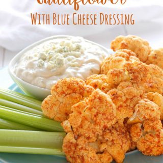 titled image (and shown): Buffalo Roasted Cauliflower with Blue Cheese Dipping Sauce