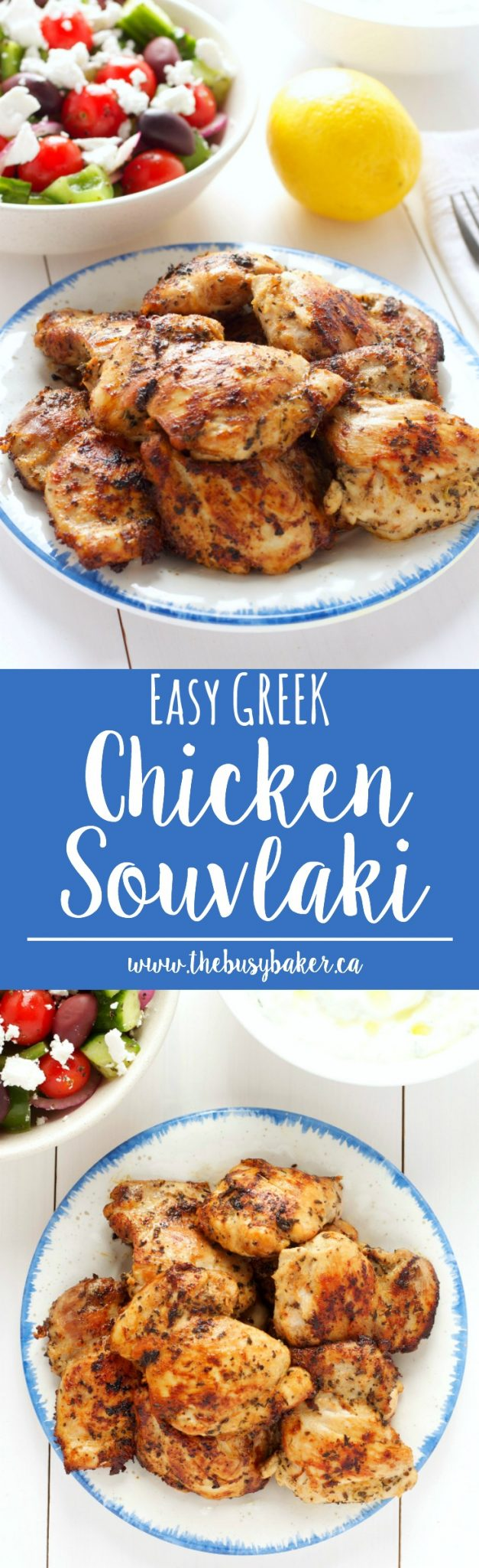 This Easy Greek Chicken Souvlaki is an authentic souvlaki recipe that's made easy with a simple marinade and fresh chicken thighs! Recipe from thebusybaker.ca! via @busybakerblog