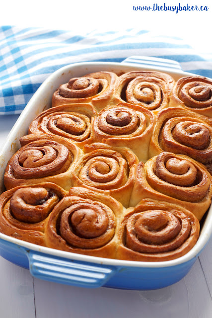 a pan of cinnamon buns made from scratch