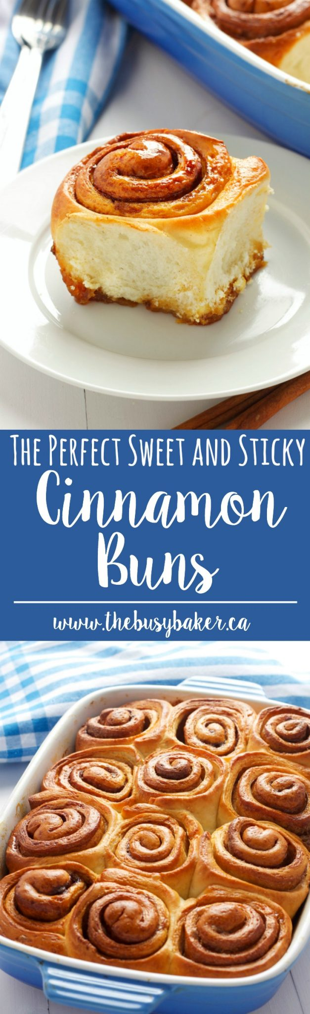 Homemade cinnamon buns that are deliciously sweet and sticky, thanks to a secret ingredient! You can make perfect cinnamon buns at home every time with this Homemade Cinnamon Buns recipe and Top 5 Pro Tips! via @busybakerblog