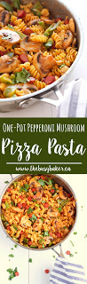 One-Pot Pepperoni Mushroom Pizza Pasta www.thebusybaker.ca