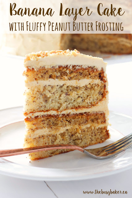 titled image (and shown): Banana Layer Cake with Fluffy Peanut Butter Frosting
