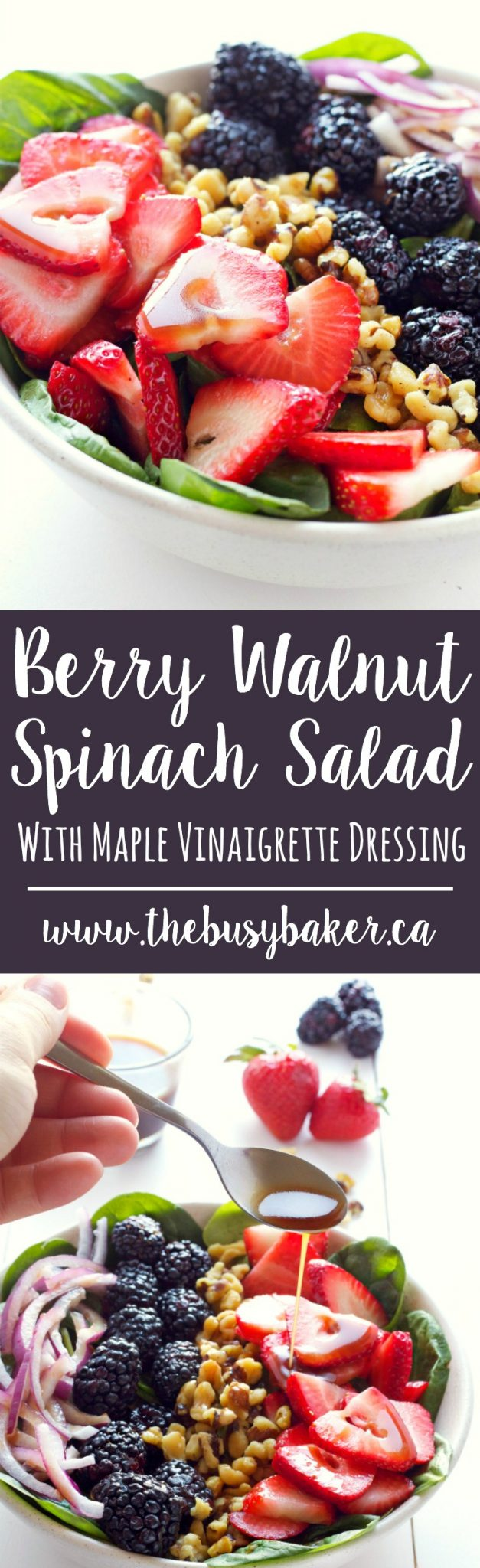 This healthy summer Berry Walnut Spinach Salad with Maple Vinaigrette is made with fresh spinach, berries and walnuts and an easy-to-make maple dressing! Recipe from thebusybaker.ca! via @busybakerblog