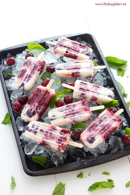 homemade cheesecake popsicles made with fresh cherries