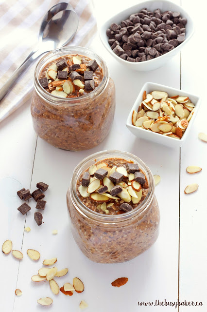 overnight oatmeal with chia seeds, chocolate and sliced almonds