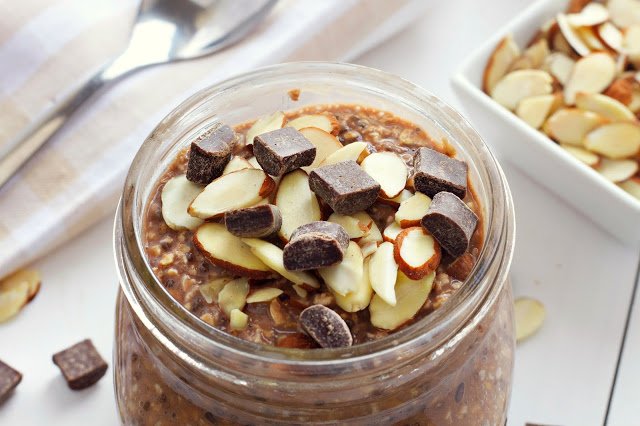 close up image of Chocolate Almond Overnight Oatmeal