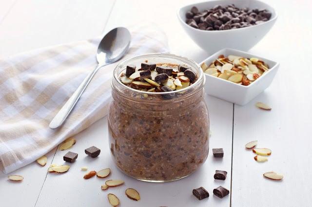 mason jar filled with almond chocolate overnight oatmeal
