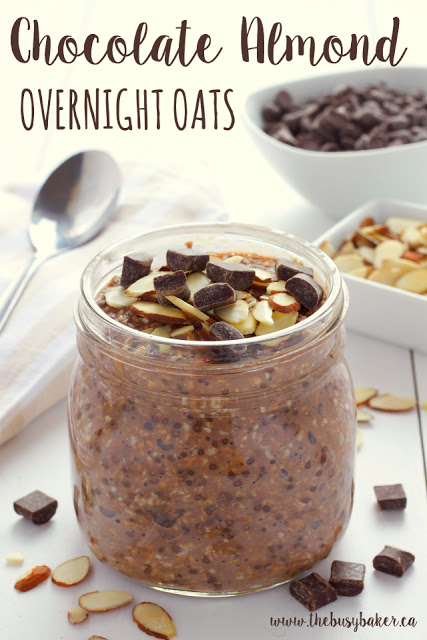 Chocolate Almond Overnight Oats www.thebusybaker.ca