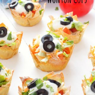 titled image (and shown): Mexican Taco Dip Wonton Cups